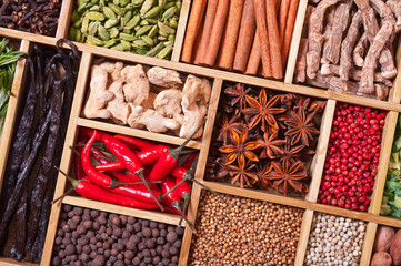 Wall Mural - spices and herbs in wooden box
