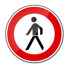 Verbotsschild RAL 3001 signalrot - Fußgänger