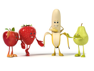 3d rendered illustration of a group of fruits