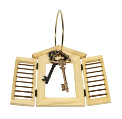 Wooden Shutters and Keys on Ring