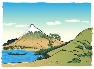 Japanese landscape with mountain, vector illustration Fototapete