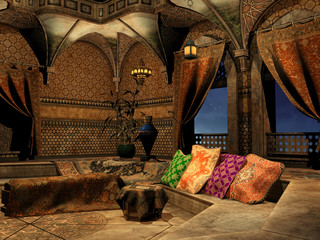 Wnętrze baśniowego arabskiego pałacu
