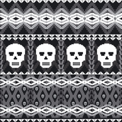Ornamental seamless pattern with skulls