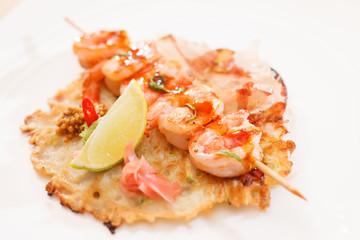 kebab with shrimps