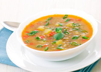 fresh lentil soup in bowl