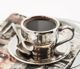 hot coffee in matel cup