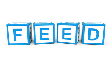 Feed on cubes 3d render illustration