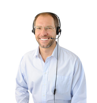 Portrait of phone operator isolated on white background