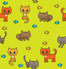 Pattern with little kittens