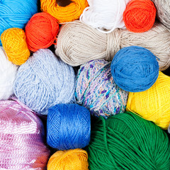 Colorful balls of yarn for knitting
