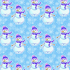 Seamless winter pattern with snowman