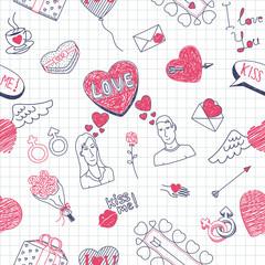 Valentine doodles seamless pattern. Vector illustration.