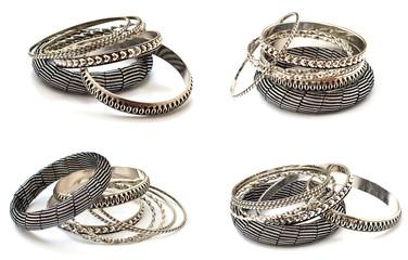 Beautiful bracelets isolated on white