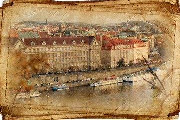 Views Of Prague Made In Vintage Style, Like A Postcard