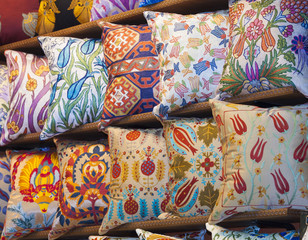 Cushion display at a market stall