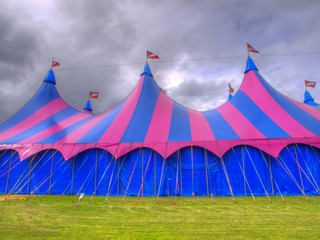 Big top circus tent on a field