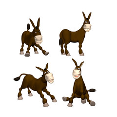 3D Donkey in 4 Poses