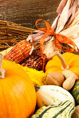 Fall Harvest Decoration With Pumpkins, Gourds And Indian Corn