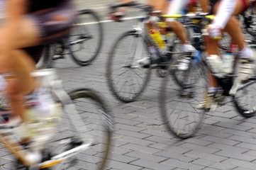Motion blur abstract of a bike riders on the street