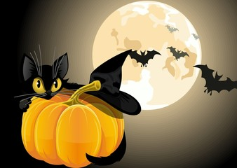 A black cat with pumpkin on a background of the moon