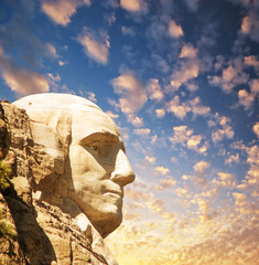 Fototapete - Mount Rushmore National Memorial with dramatic sky - USA