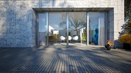 Villa im Sichtbeton Stil 3D