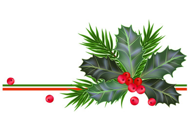 Christmas and New Year card with holly leaves and berries