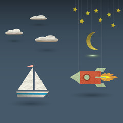 Deurstickers Kosmos Retro rocket and sailboat
