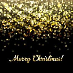 Golden Defocused Merry Christmas Background