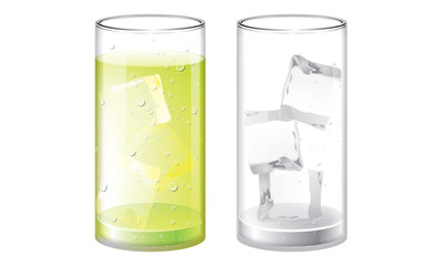 Glass of Lemon juice and empty glass with ice