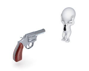Revolver and stressed 3d small person.