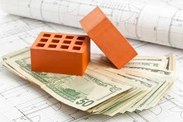 Bricks on construction plan