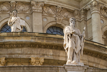 Statues on the facade of Saint Stephen's Basilica in Budapest, H