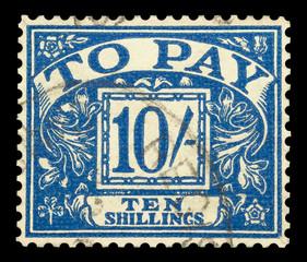 UK ten shillings to pay postage stamp, circa 1940
