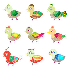 vector colorful birds