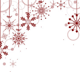 christmas design with red snowflakes on white