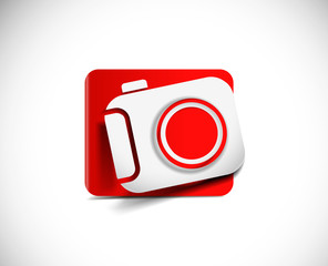 Camera Icon on white button original illustration.