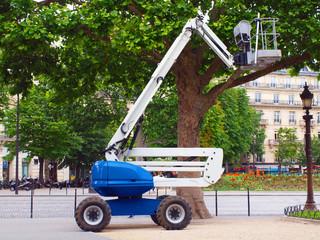 Blue elevator in the Paris city street
