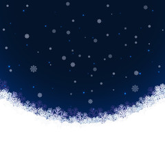 Abstract winter vector background with snowflakes and copy space