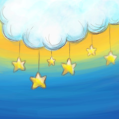 Aluminium Prints Heaven Cartoon style cloud and stars background