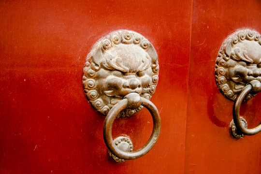 Longhua Temple Lion Door Knockers