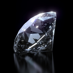 Shiny diamond on black background