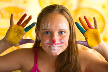 portrait little girl - hand painted child