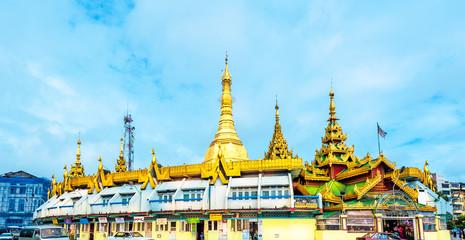 Ancient Buddhist temple, Sule Pagoda, Yangon, Myanmar.