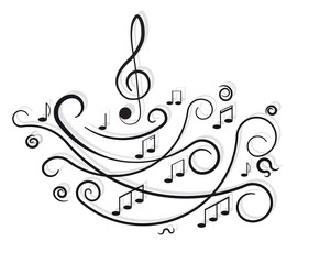 Musical notes. Ornament with swirls on white background.