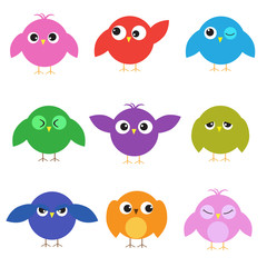 Set of cute birds with different emotions