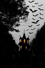 Halloween. Night. Moon, castle and bats.