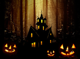 Halloween.  Castle and  pumpkins in forest