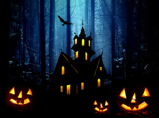 Halloween. Night in forest. Castle and  pumpkins