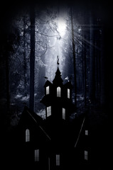 Halloween. Night. Moonlight and castle